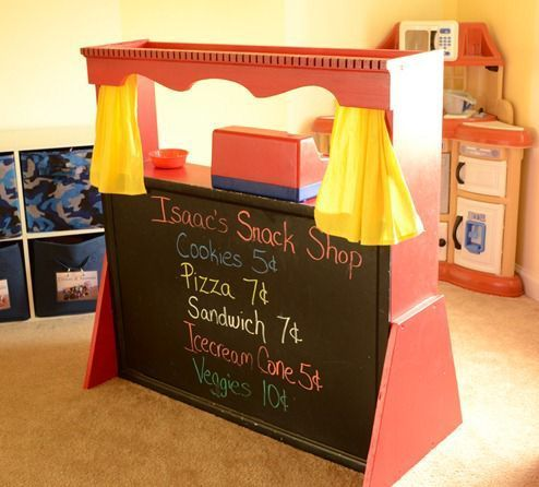 DIY Ideas | DIY Projects | Check out how to turn an old hutch into a play puppet theatre, grocery store, snack shop, etc for your kids!