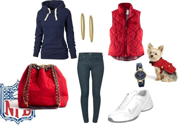 """Sunday Night Football Sporty Fashion Look"" by nicole-gordon-phillips on Polyvore"