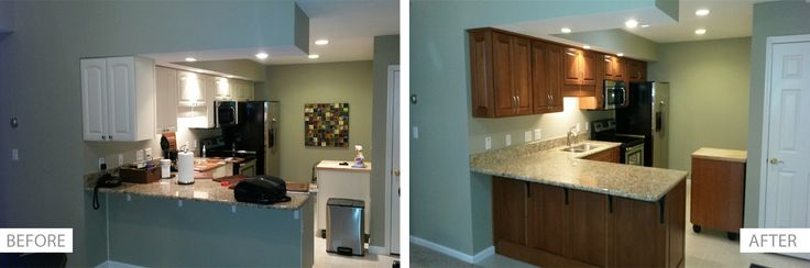 The cabinets were refaced in a Walzcraft door done in Cherry.  The stain was done in a Nutmeg wiping stain.