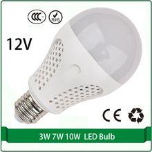 E27 12 voltios dc bombillas led 3 W 7 W 10 W bombilla solar bombilla de 12 voltios llevó la lámpara del panel led 12 v e27 e26 B22 lampada