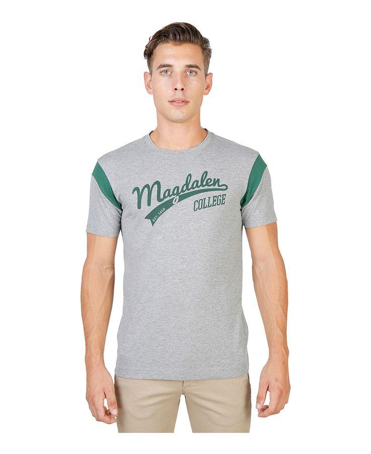 T-shirt girocollo a maniche corte con striscia di colore a contrasto - 100% cotone - tessuto tinto pezza a 60° c con col - T-shirt uomo  Grigio