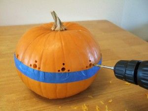 How to make pumpkins carved with a drill.