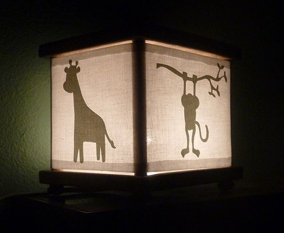 lantern for baby room $23: Monkey Jungle Night Light with Giraffe Elephant Hippo Sage Green
