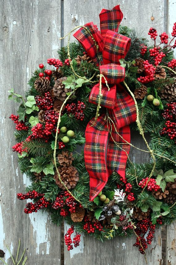 Christmas Wreath Plaid Ribbon Red Berries Merry