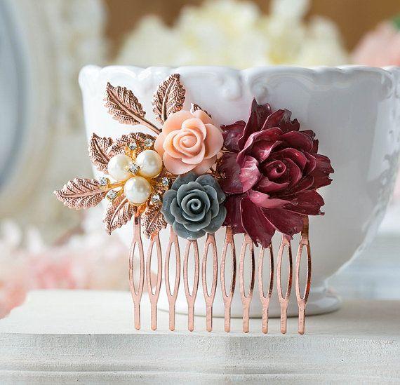 Peine de oro rosa nupcial pelo peine boda rojo oscuro Borgoña