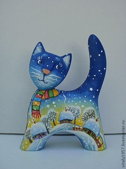 Игрушки животные, ручной работы. Ярмарка Мастеров - ручная работа Маленький котенок 2 , скульптура дерево авторская роспись. Handmade.
