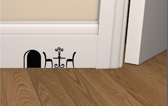 Mouse hole table and chairs skirting board vinyl sticker Also can be used on wooden painted stairs Many different designs available in my shop You