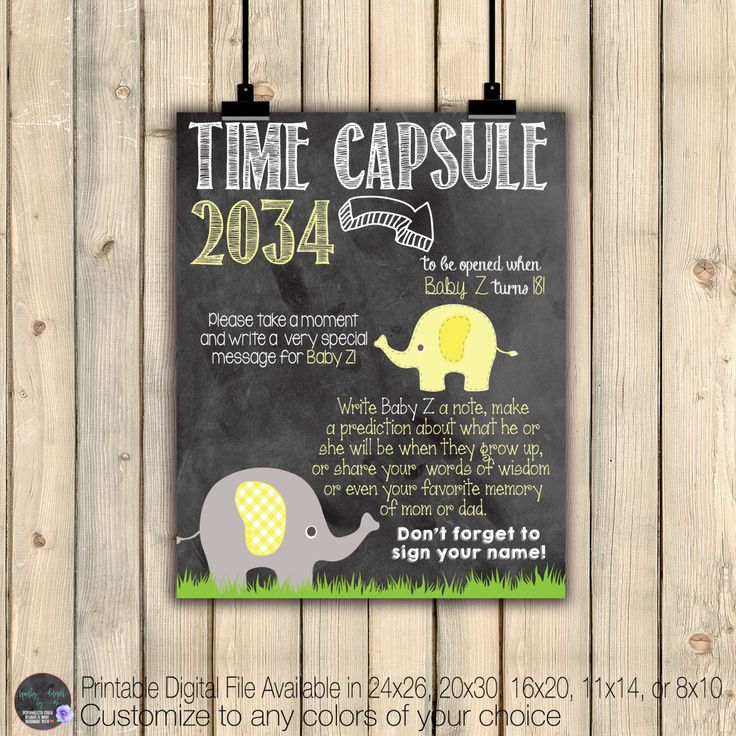 Elephant Baby Shower Time Capsule Sign, Yellow Grey Baby Shower Chalkboard Poster, Elephant Baby Shower Decor, Baby Shower Keepsake, Digital by SquishyDesignsbyMe on Etsy