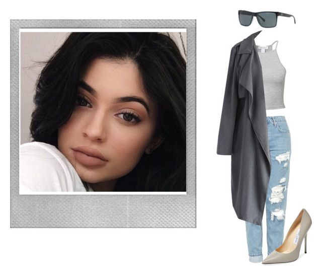 """Kylie Jenner inspo."" by gracemartin-ii ❤ liked on Polyvore featuring Polaroid, NLY Trend, Topshop, Chicwish, Jimmy Choo and Armani Exchange"