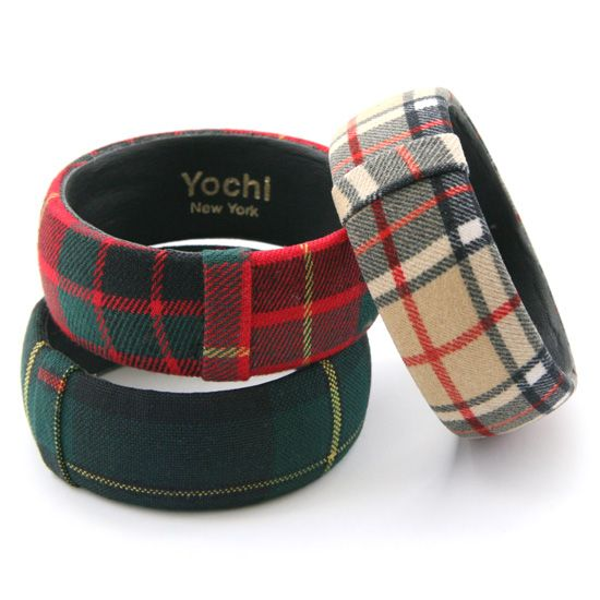 Plaid fat bangles in various plaid prints.