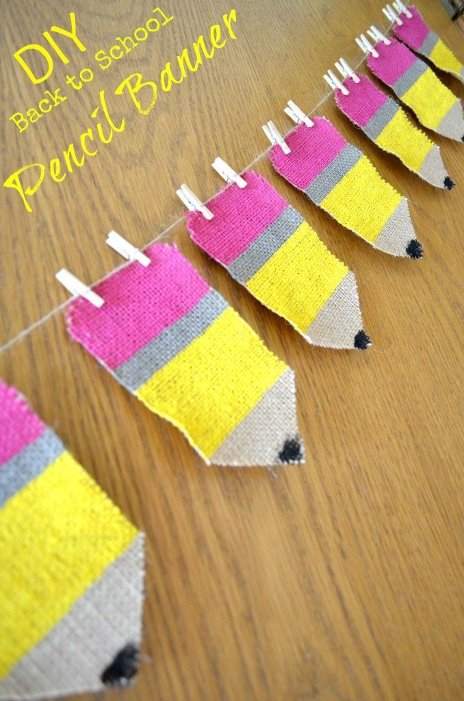 OH school supply heavenly goodness - this DIY Back to School Pencil Banner is perfect for classroom decor, scrapbooking, and sensory corners! SO easy even I made it!