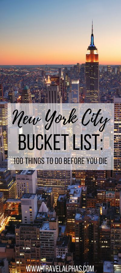 Looking for some New York City travel inspiration? Then look no further! This New York City Bucket List includes 100 things to do in New York City before you die. From amazing restaurants and markets, to museums and art galleries, to places to enjoy recreational activities and insanely beautiful views, this article has it all. Forget anything you've ever read about New York City before, because this bucket list, written by a New Yorker, is the only resource you'll ever need for your next