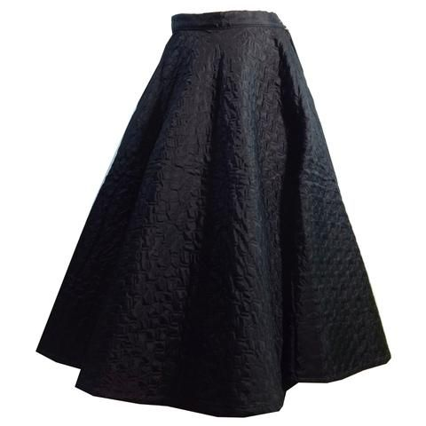 Best Wardrobe Basic Black Quilted Full Circle Skirt circa 1950s - Dorothea's Closet Vintage