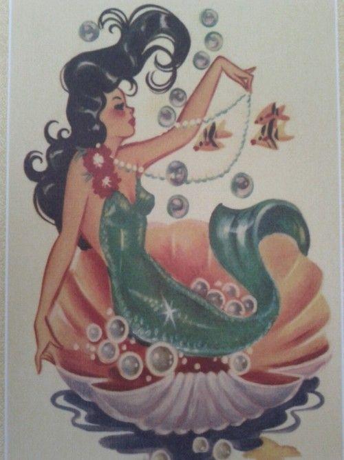 vintage mermaid- bathroom art