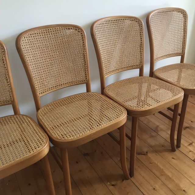 Vintage Bentwood 811 Hoffmann Style Rattan Cane Dining Chairs