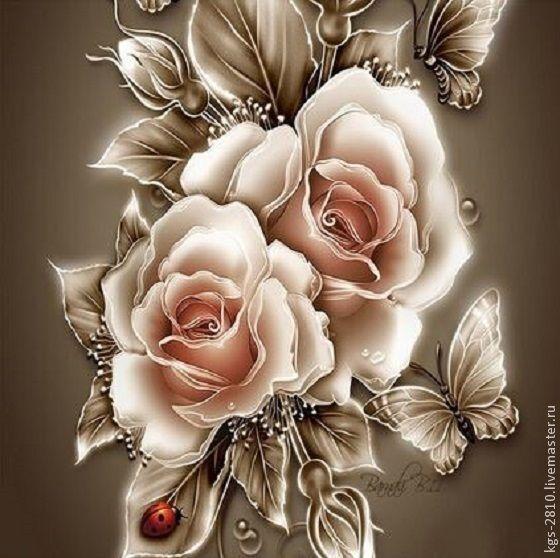 Купить Алмазная вышивка.Розы в обработке. - золотой, розы, цветы, алмазная вышивка, стразы