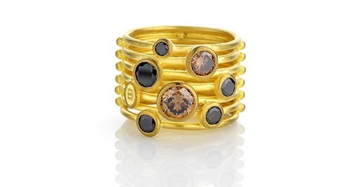 22ct yellow gold cognac and black diamond ring