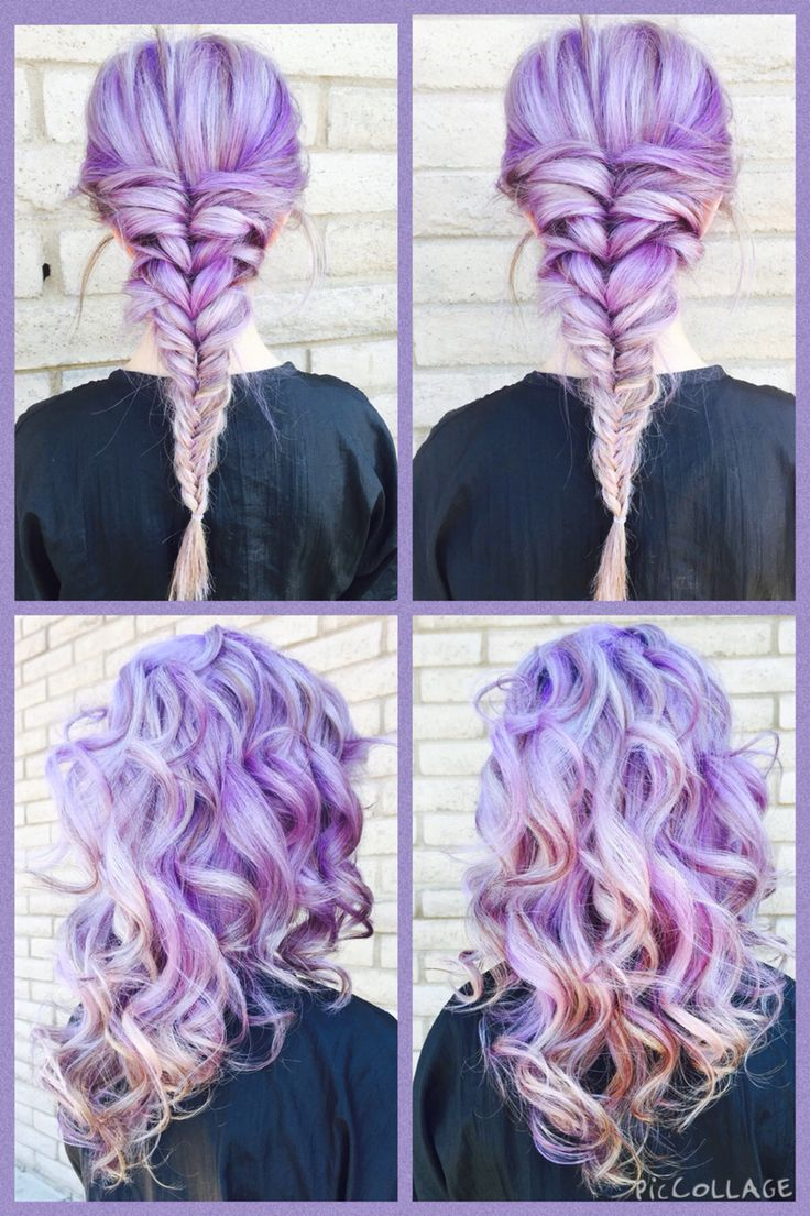 Lavender hair with highlights and lowlights underneath