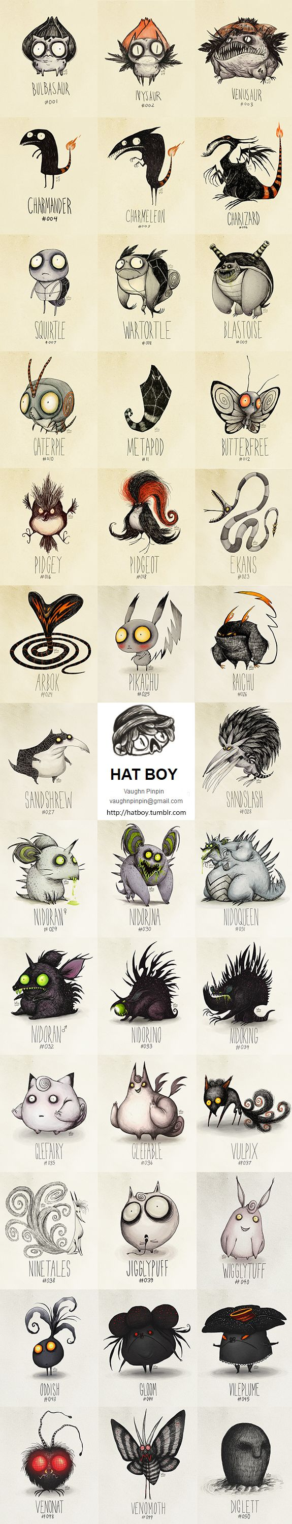 http://hatboy.tumblr.com  Hat Boy Pokemon (The Tim Burton x PKMN Project By Vaughn Pinpin)