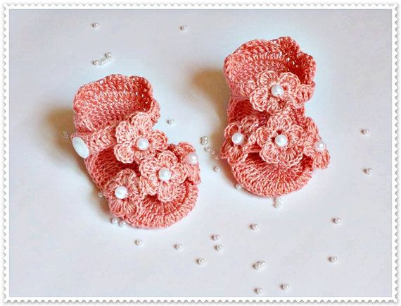 Crochet baby sandals, Crochet flip flops, Baby sandles, Peach shoes, Peach crochet sandals, Newborn sandals, barefoot baby sandals