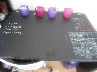 Chalkboard painted Desk - quick and easy - put your meal plan, random thoughts, or whatever! |ButISawItOnPinterest.blogspot.ca
