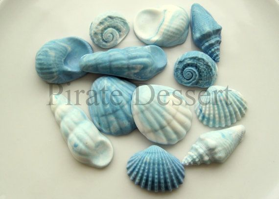 Cupcake toppers  BLUE SEA SHELLS  Under the Sea by PirateDessert, $14.00