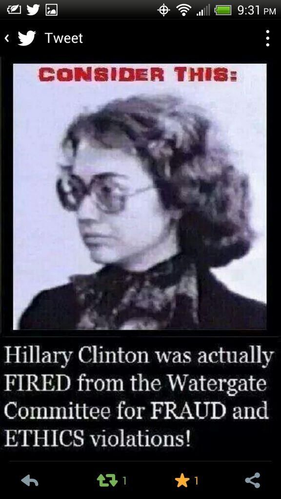 .Hillary Clinton was actually fired from the Watergate Committee for FRAUD and ETHICS violations!