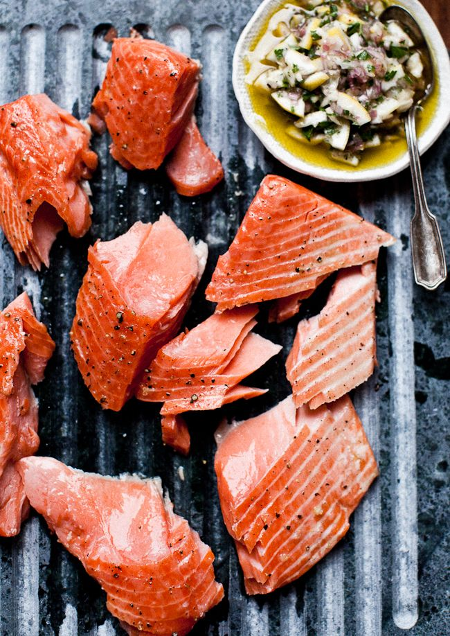 Slow Cooked Salmon with Meyer Lemon RelishOlive Oil, Grilled Salmon, Slow Cooking, Lemon Relish, Cooking Salmon, Healthy Eating, Slow Cooker, Food Recipe, Meyers Lemon