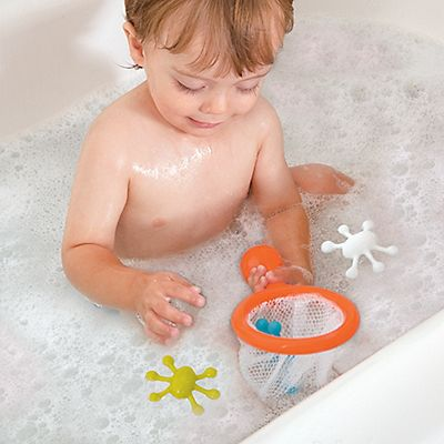Water Bugs: Finding intriguing bath toys for babies can be hard, but we think we've solved the problem with this super-fun net set. Toss the floating water bugs into the bathtub and little ones can eagerly scoop them up as they bobble across the water. Plus, this entertaining tub toy encourages put-and-take play and counting, too.