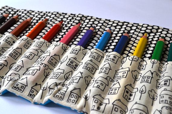Pencil roll  houses by IttyBittyOak on Etsy