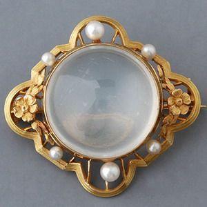Antique Art Nouveau Moonstone Pearl Pin