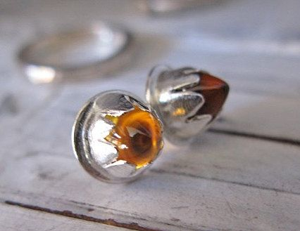 Citrine Stud Earrings Citrine Bullet by HotRoxCustomJewelry