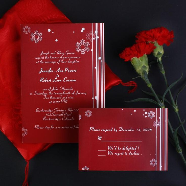 sample of wedding invitations templates%0A    Cheap snowflake red wedding invites EWI