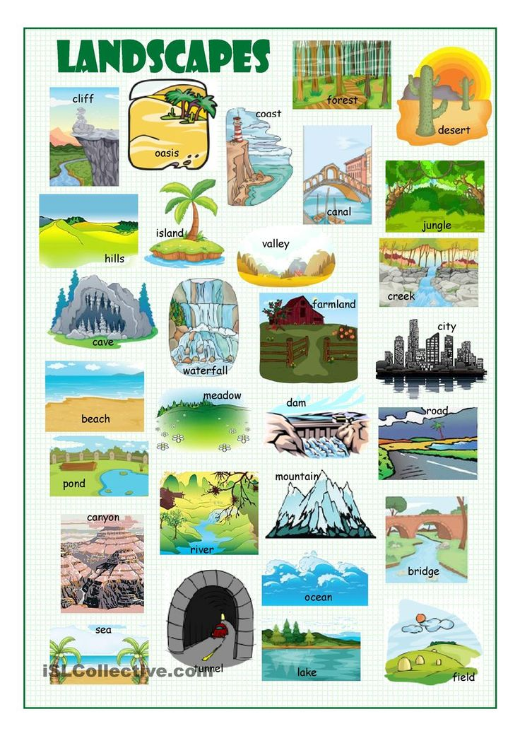 Landscapes Picture Dictionary | FREE ESL worksheets: