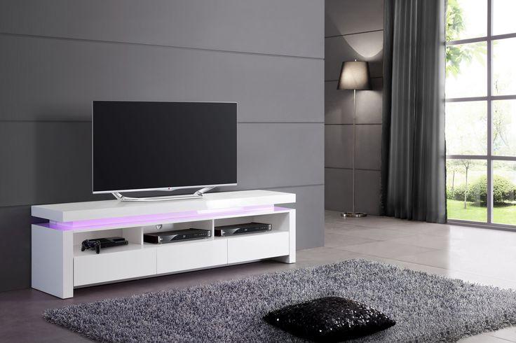 TV-skrinka s LED podsvietením na diaľkové ovládanie  Rozmery: 175x42cm  Výška: 49cm  Material: Vysoký lesk - Lak - biely  TV-skrinky z vysokého lesku  Nábytok s vysokým leskom, je k dispozícií vo farbách bi