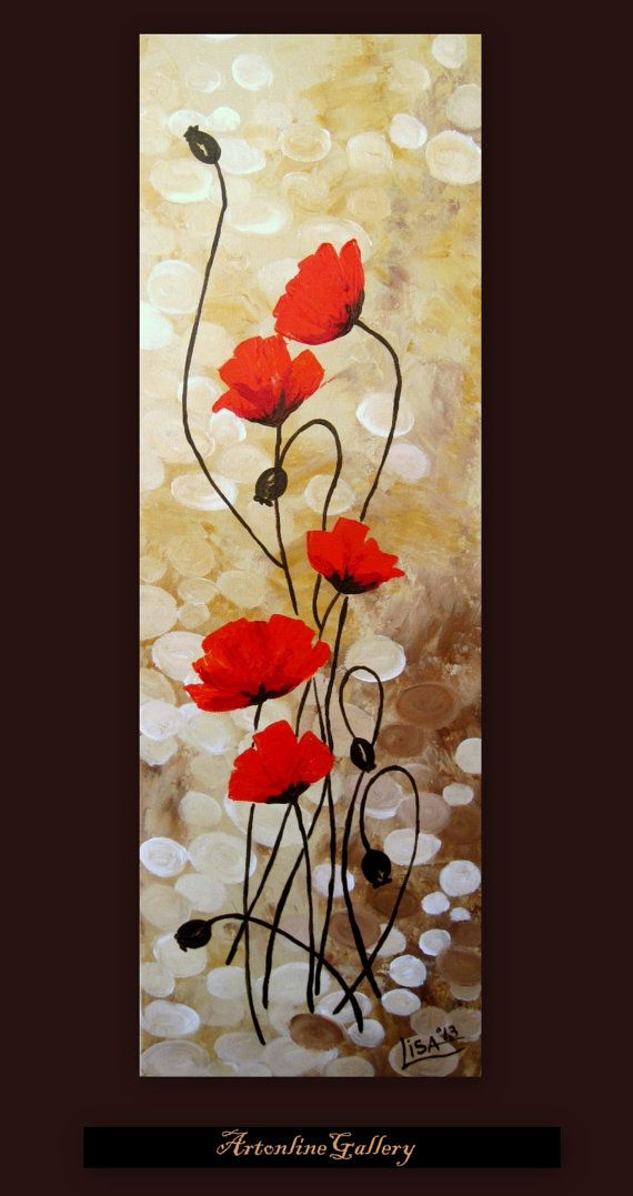 Original Acrylic Painting - Red Poppies Flowers Fields Red Beige Brown Floral Abstract - Original Fine Art Contemporary Art - Made To Order
