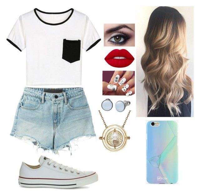 """""""Untitled #70"""" by bubblegumprincess831 on Polyvore featuring T By Alexander Wang, Converse, Lime Crime, Skagen and UPROSA"""