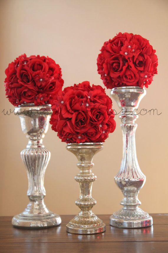 279 best wedding pomander flower balls images on pinterest flower 3 6 inch wide red wedding pomanders you choose ribbon color mightylinksfo Choice Image