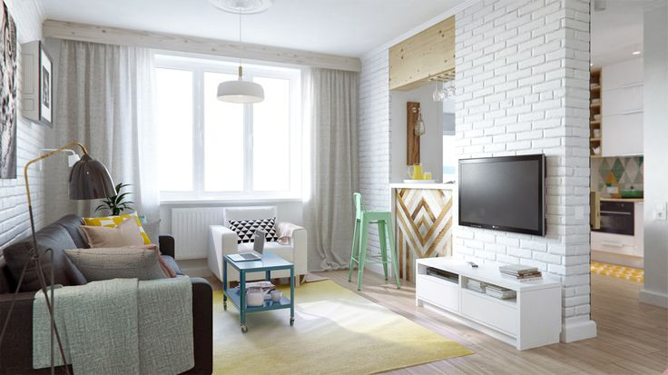 Une bien belle découverte déco ! Un petit appartement de 45m2 d'inspiration… —oui, oui!— scandinave, décoré parint2architecture. Coup de coeur i