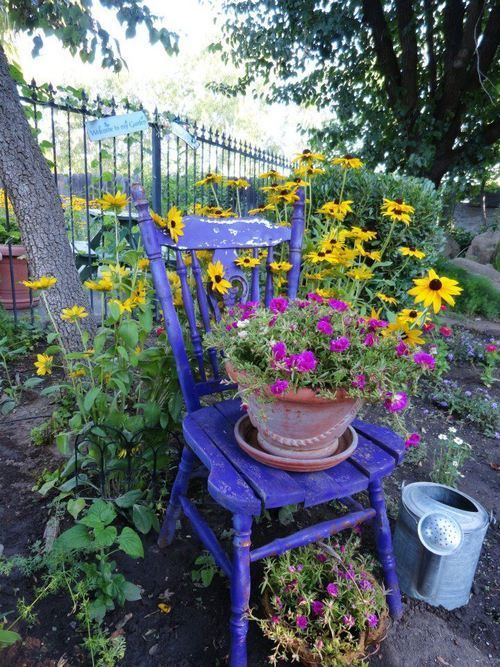 blue chair and flowers   Spring   Chair planter, Garden chairs