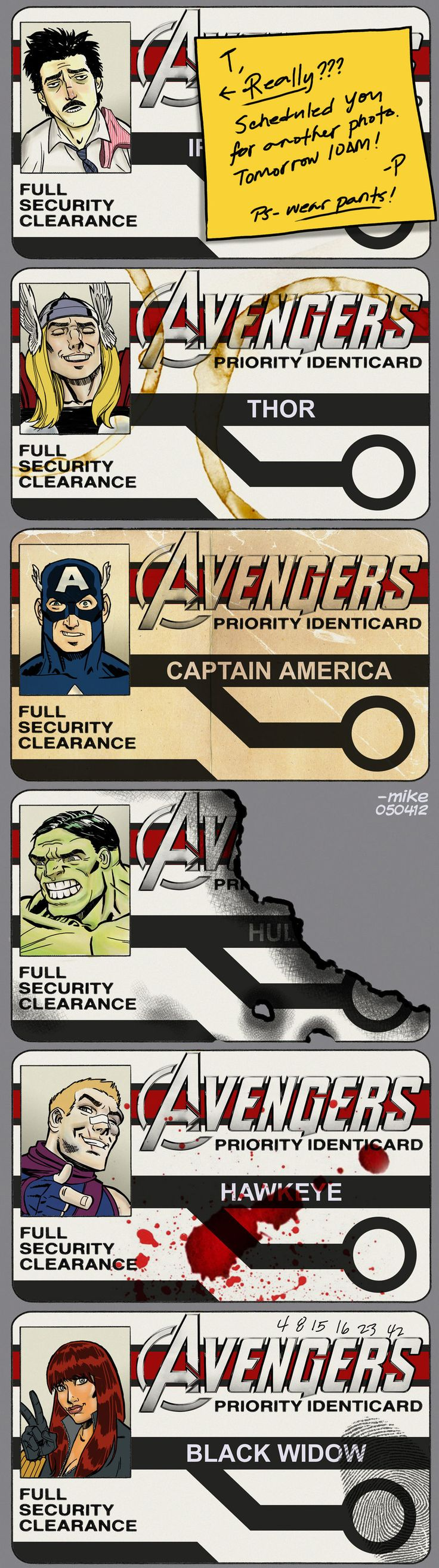 Avengers ID - Did the Hulk brush his hair? And what is up with Cap's face?