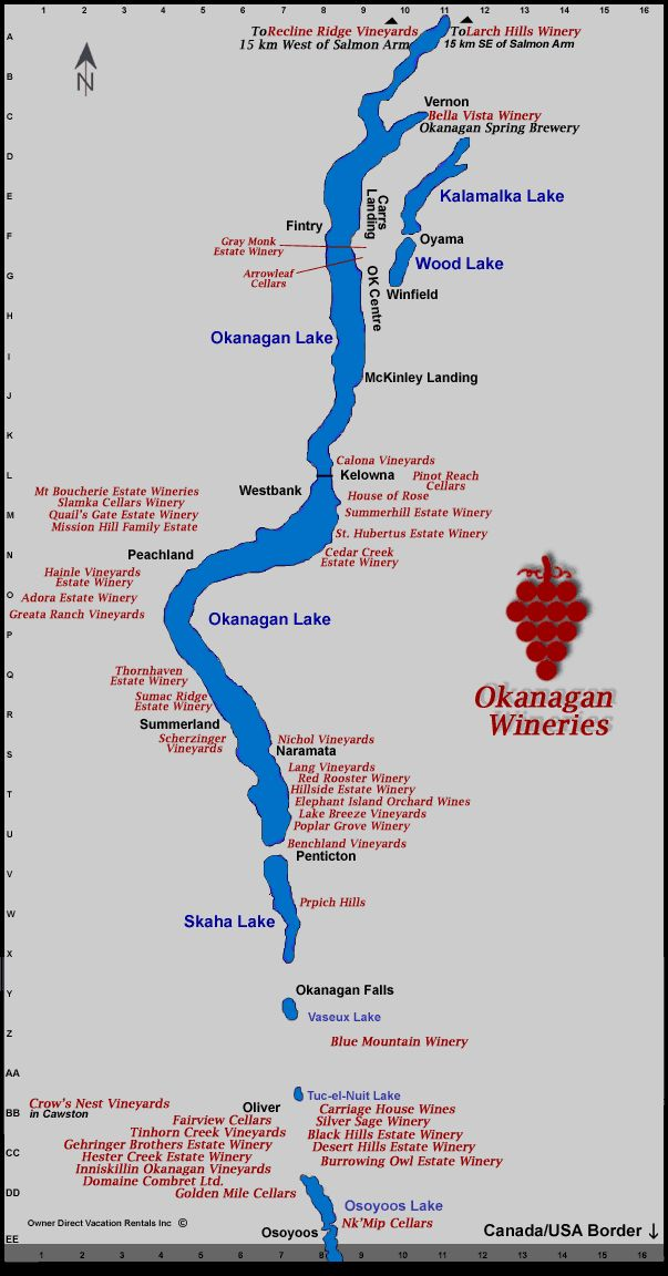 Map of the Okanagan Wineries
