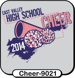 This megaphone design is popular with our cheer squads! Head over to spiritwear.com to start your order for custom cheerleader t-shirts today! Ask about sparkle ink!