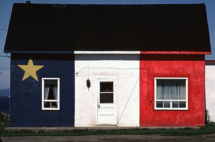 House decorated as an Acadian flag, Grande-Anse - New Brunswick Images / Photos