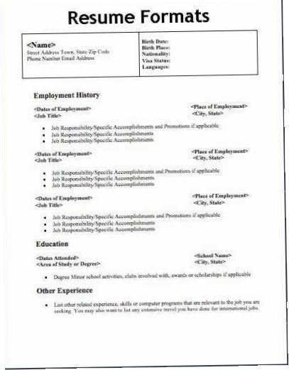 3 Types Of Resume Formats Resume Format Pinterest Resume