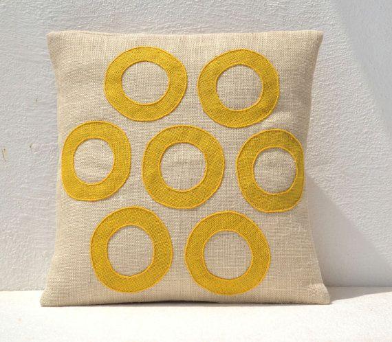 Outdoor Pillows - Yellow Geometric Throw Pillows  - Burlap Pillow - Decorative applique cushion cover- Spring Throw pillow gift pillow 16X1 via Etsy