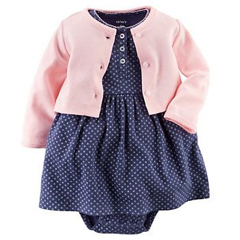 Baby Girl Carter's Geo Bodysuit Dress & Cardigan Set