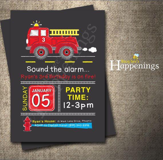 Fire truck Birthday Invitation FIRE TRUCK por BusyBeesHappenings