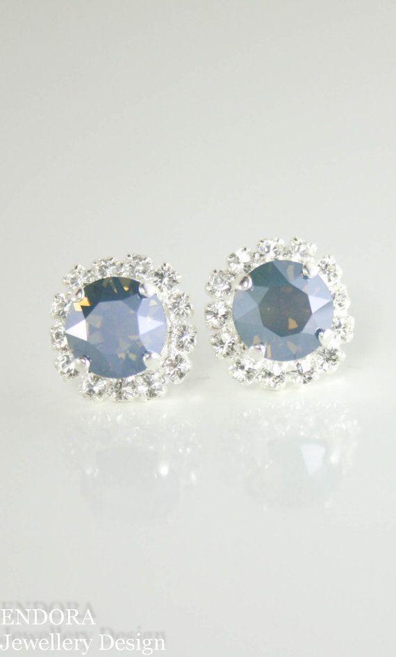 Blue bridal earrings | Steel blue wedding | blue bridesmaid earrings | www.endorajewellery.etsy.com