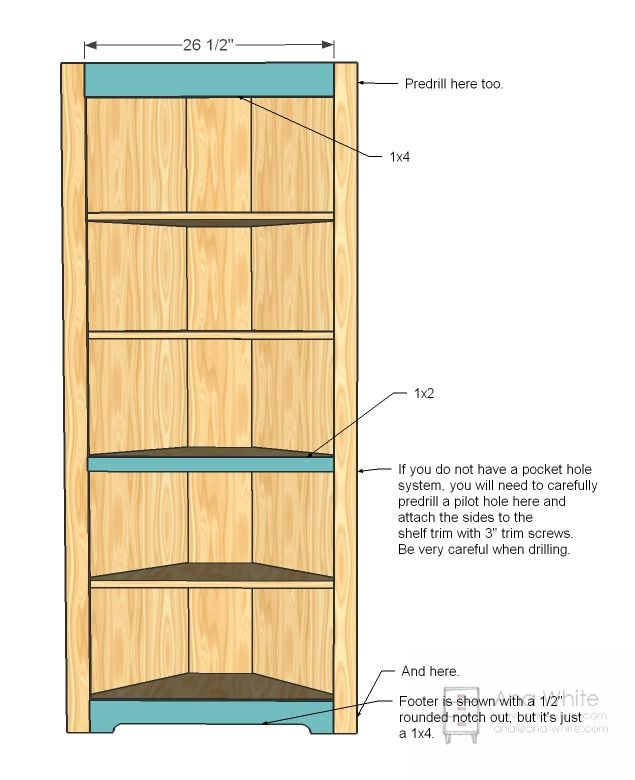 Ana White | Build a Corner Cupboard | Free and Easy DIY Project and Furniture Plans